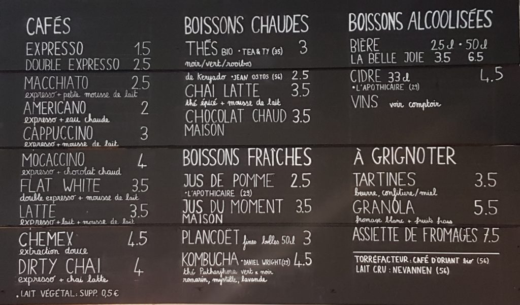 Carte boissons coffeeshop Code 0 Lorient